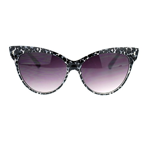 Womens Leopard Animal Print Thick Plastic Large Cat Eye horned Sunglasses - Cat Sunglasses Eye Print Leopard