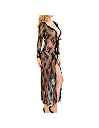 Women's Sexy Lingerie Dress, Lace Robe Perspective Pajamas Large Size Lingerie Sexy Lace Front Open Long Sleeve Long Night Skirt,XXXL