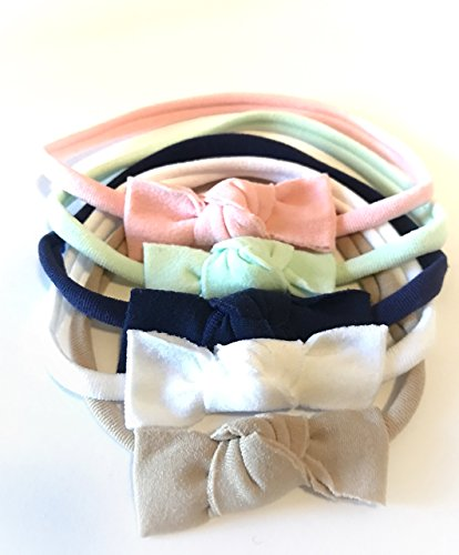 Unique Baby Girl Headband Bow, Nylon Soft and Stretchy Headband for Infants,Toddlers & Kids - 5Pack By OwlAdoreYou (Pink, Dark Blue, Teal, White, Tan) (Black Nylon Headband)