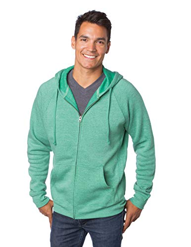 Global Blank  Midweight Front Zip Up Super Soft Hoodie Women Men Hooded Fleece Jacket,Sea Green,XX Large