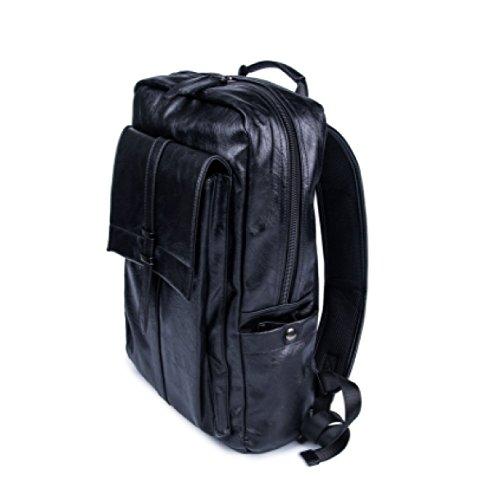 Ayer Bolsos Para Hombres Mochila De Cuero Para Hombre Bolsas Casuales Bolsos Para Laptop Bolsa De Viaje Bolsa De Hombro De Cuero PU Black