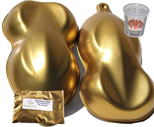 25g Bright Gold Aluminum Alloy Candy Paint Pearls Metallic Paint Pigment Aluminum Paint Powder with 8 oz. custom paint mixing cup. Use in any paint, powder coat, cerakote, fiberglass, and epoxies.