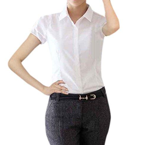 JackenLOVE de Courtes Tee Blanc t Haut Bureau Casual Slim Fashion Tops Femme Couleur Shirt Blouse Unie Chemisiers Manches Revers qgwqZpnH