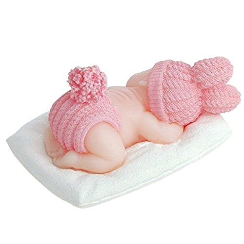 FLY 3D Sleeping Baby Silicone Fondant Mold Cake Decorating,Pink