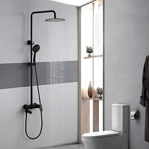 バスルームシャワーセットハンドシャワーシステム真鍮10インチラウンドトップスプレーブラックホットコールドシャワーヘッド3機能蛇口ノズルバスルーム用品