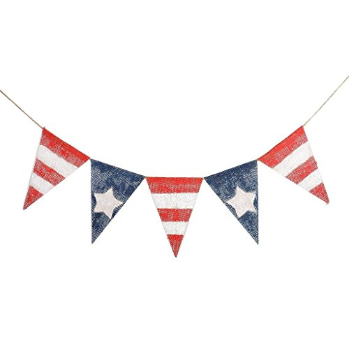 4th of July Banner Independence Day American Flag Bunting Banner for Celebration Party Supplies