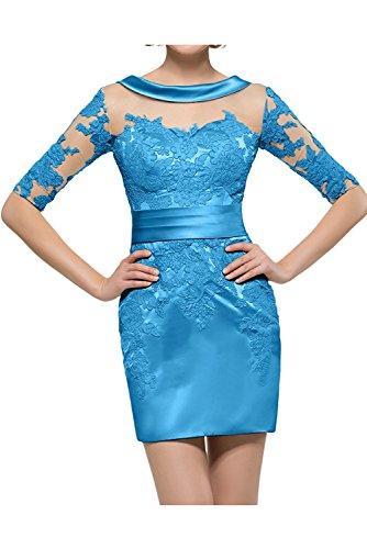 Brautmutterkleider Kurzarm Abendkleider mia Damen Sexy Ballkleider La Jugendweihe Braut Gelb Blau Kleider mit Mini fC76Ww8q