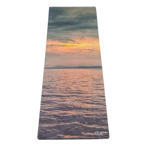 YOGA DESIGN LAB THE COMBO YOGA MAT by Eco Luxury Mat/Towel that Grips the More You Sweat | Designed in Bali | Ideal for Hot Yoga, Bikram, Pilates| Includes Carrying Strap! (Sunset, 70 x 24)