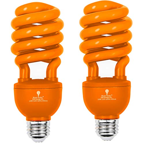 2 Pack BlueX CFL Orange Light Bulb 24W – 100-Watt Equivalent – E26 Spiral Replacement Bulbs - Orange Light Bulbs Decorative Illumination - for Indoor or Outdoor – DJ, Orange Bulbs