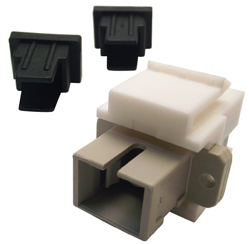 Shaxon BM303WSC-B, Simplex SC to SC Fiber Optic Keystone Feed Through Coupler - White