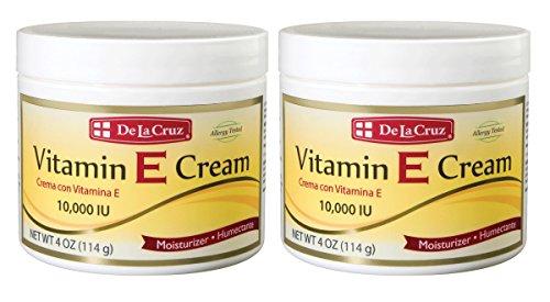 De La Cruz Vitamin E Cream 10,000 IU, Allergy-Tested, No Artificial Colors, Made in USA 4 OZ. (2 Jars)