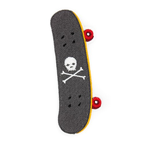 Skateboard with Skull Iron On Embroidered Patch