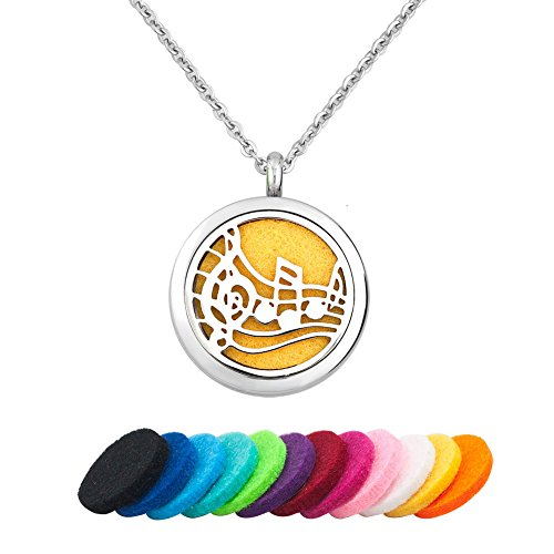 e Music Necklace For Essential Oil Diffuser Aromatherapy Jewelry, 12 Refill Pads (Music 1) (Music Necklace)