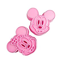 White Bear Co. Cute 3D Cartoon Disney Mickey Minnie Mouse Kids Party Holiday Baking Cookie Cutter Mold Set (2Pcs)