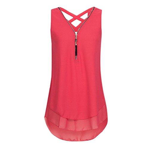 (iYBUIA Women Loose Sleeveless Solid Tank Top Cross Back Hem Layed Zipper V-Neck T Shirts Tops(Red,L))