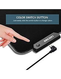 Alfombrilla de ratón RGB suave para juegos, grande, LED brillante, ampliada, base de goma antideslizante, alfombrilla de teclado para ordenador, 31,5 x 11.8 pulgadas