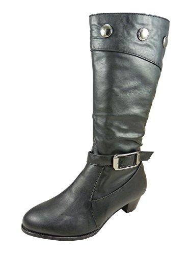 Botas para mujer, diseño con tachuelas y talón de 4 cm de ancho, piel Negro - negro
