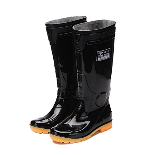[WHENOW Knee-High Rain Boots Rubber Boots Safety Shoes EUR 43 Black] (Mens Black Knee High Boots)