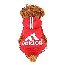 Idepet(TM) Adidog Pet Dog Cat Clothes 4 Legs Cotton Puppy Hoodies Coat Sweater Costumes Dog Jacket (XXL, Red)