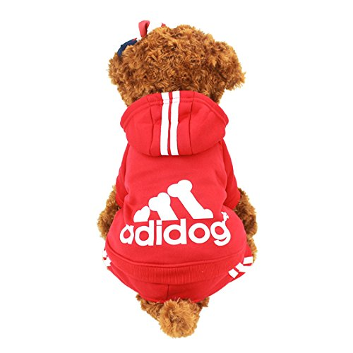 Idepet Cotton Adidog Dog Hoody, L, Red]()