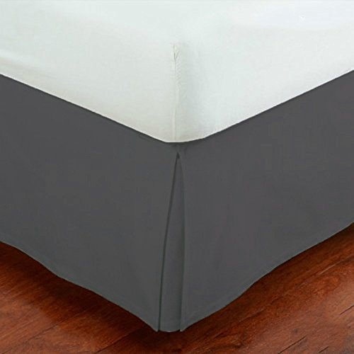 "Mk Collection Solid Pleated California King Bed Skirt 14"" Drop Dark Grey/Charcoal New"