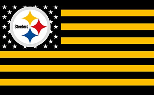 GF-sports store Championship Flag - NFL Flag Sewn 3x5 Foot Brass Grommets Brightly Colored Team Graphic - Canvas Header and Double Stitched (Pittsburgh -