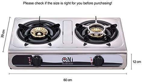 NJ - Anafe para cocción a gas, modelo NGB-60, con 2 quemadores, de acero inoxidable, 60 cm, de gas GLP, para un uso al aire libre