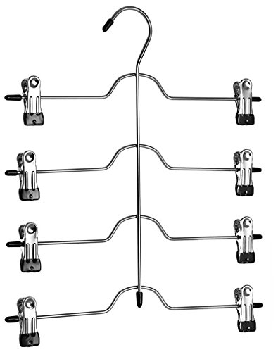 Richards Homewares - 4 Tier Trouser/ Skirt Chrome & Black Vinyl Hanger (3-Pack)