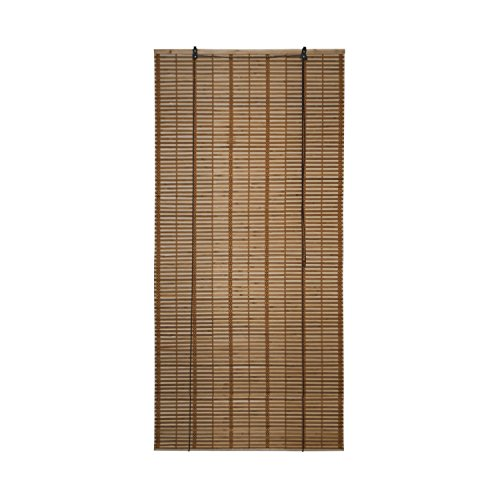 - ALEKO BBL36X72BR Light Brown Bamboo Roman Wooden Roll Up Blinds Light Filtering Shades Privacy Drape 36 X 72 Inches