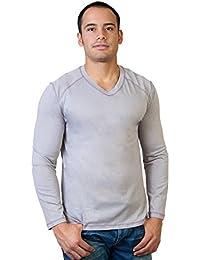 Steven Craig Men's Long Sleeve V Neck T-Shirt with Trim