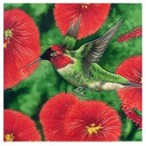 Hummingbird with Five Flowers Decorative Ceramic Wall Art Tile 8x8