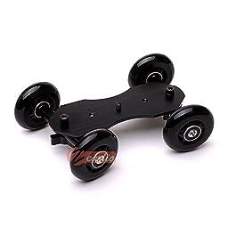 Zeadio Table Top Portable Dolly Mini Car Slider Skater Wheel Track Stabilizer for Dslr Camera Video Dc - Black