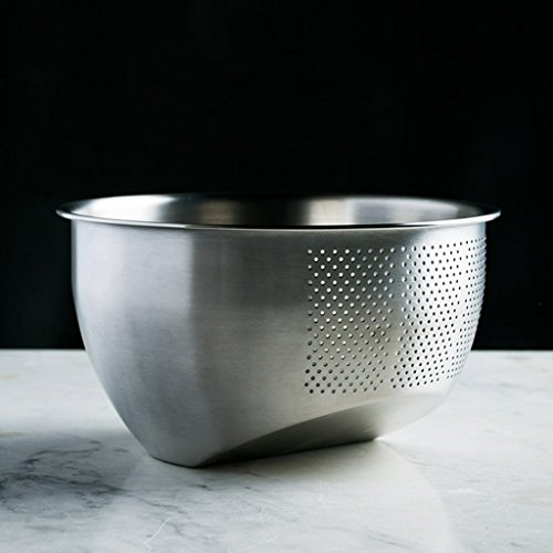 He Xiang Ya Shop Stainless steel cleaning fruit and vegetable basket kitchen tool drain basket home rice washing storage basket thick desktop fruit and vegetable storage rack by He Xiang Ya Shop (Image #2)