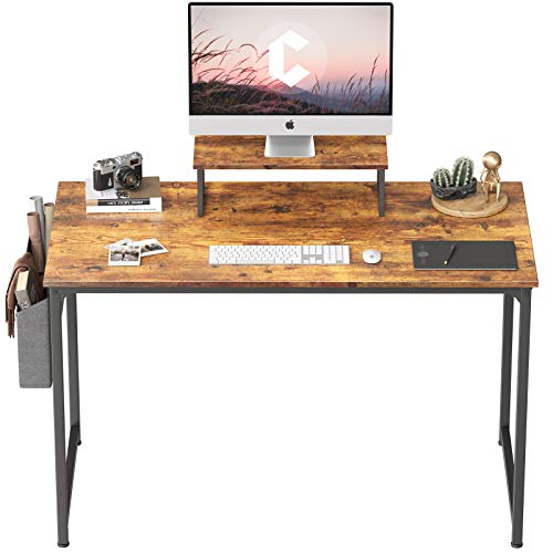 Cubiker Computer Desk 47 Inch Home Office Writing Desk Student Study Desk with Small Table and Storage Bag, Rustic Brown