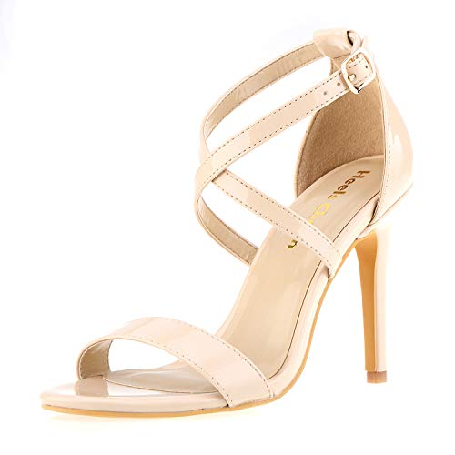 Women's Stiletto Open Toe Cross Strappy Heeled Sandals Ankle Strap High Heels 3.94 Inches Dress Party Wedding Work Daily Shoes Nude Patent Leather Size 8.5