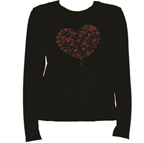 Rhinestone Heart Tree T Shirt Rhinestone L-R H1U7 (M, BLACK)