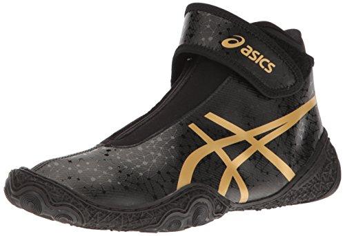 ASICS Men's Omniflex-Attack V2.0-M Wrestling Shoe, Black/Rich Gold, 11 M US