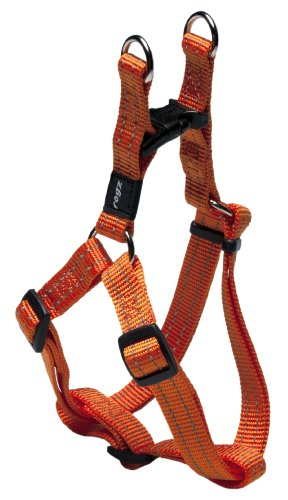 Reflective Adjustable Dog Step in Harness for Medium Dogs; matching collar and leash available, Orange