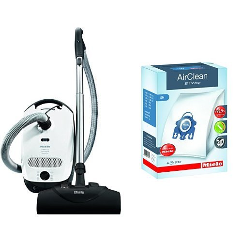 Miele Superior C1 Cat and Dog Canister Vacuum Cleaner & Miele 10123210 AirClean 3D Efficiency Dust Bag, Type GN, 4 Bags & 2 Filters