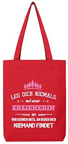 Geschenk zum Geburtstag Jubiläums Abschied Premium Bio Baumwoll Tote Bag Jutebeutel Stanley Stella Leg Dich niemals mit einer Erzieherin an Red zarrMHC8
