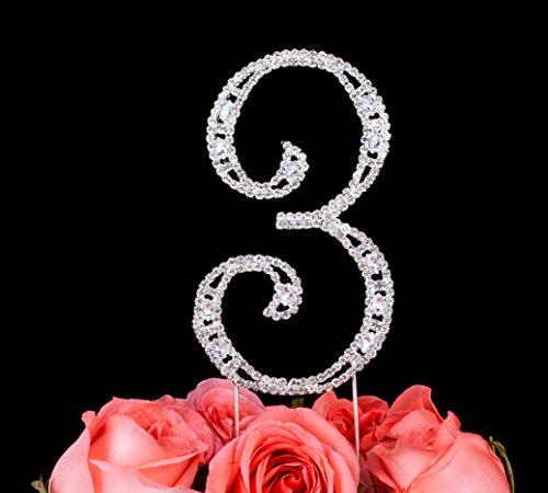 LOVENJOY with Gift Box Super Bling Number 3 3rd Happy Birthday Wedding Anniversary Crystal Rhinestone Cake Decoration Topper Silver (2.8-inch) (Happy Birthday Cake 23)