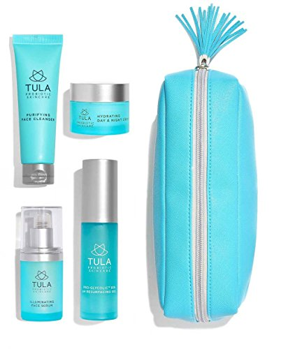 Vitamin E Skin Care Starter Kit - TULA Probiotic Skin Care Discovery Kit - Travel-friendly Facial Cleanser, Day & Night Moisturizer, Illuminating Serum & Pro-Glycolic Resurfacing Gel for Glowing and Youthful Skin