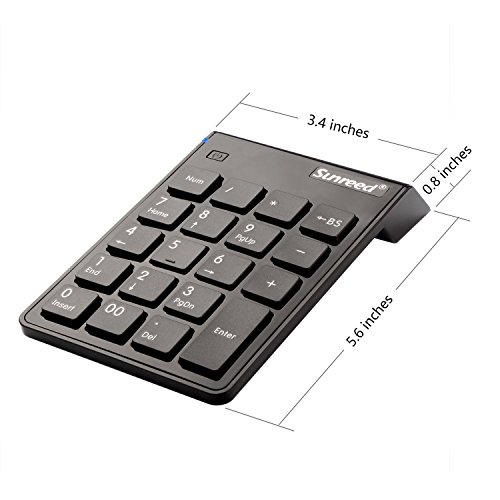 Sunreed Numeric Keypad, 19 Keys Wireless USB Number Pad Keyboard with 2.4G Mini USB Numeric Receiver for Laptop Desktop PC Notebook, with Power Switch, USB Receiver Can Stored by Sunreed (Image #4)