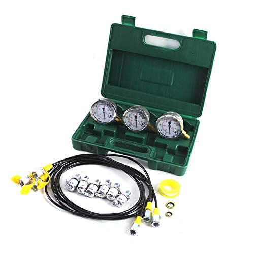 Hydraulic Pressure Test Kit 25/40/60MPa for 9000PPSI Excavator Hydraulic Pressure Test Guage Kit Working, with 3pcs Oil Gauges and Test Hose 6pcs Text Coupling Excavator Construction Machinery ()