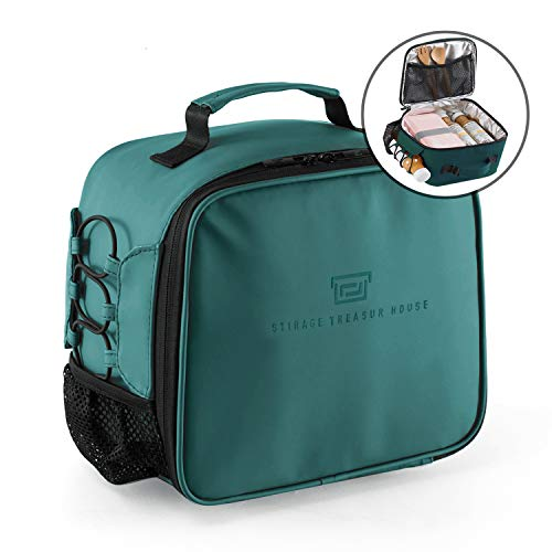 Lunch Bag for Women Men with Large Drink Holder, Reusable Insulated Lunch Tote Bag Leakproof Waterproof, Lunch Box with Mesh Pocket, Smooth Double Zip, Easy to Clean, for Office School Picnic (Tote Zip Easy)
