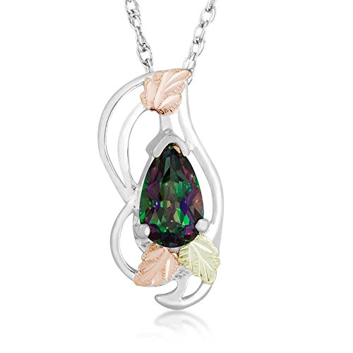 Pear Mystic Fire Topaz Pendant Necklace, Sterling Silver, 12k Green and Rose Gold Black Hills Gold Motif, 18'' -