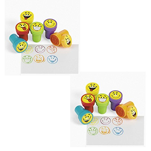48 pc Goofy Smile Silly Face Stamps [Toy] by Fun Express