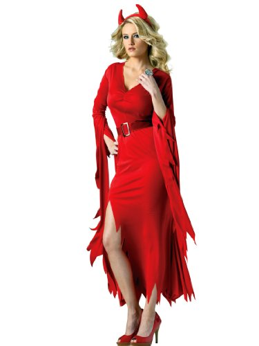 Red Devil Costume Dress Flame-Cut Style Hem with Horns Women Theatrical Costume Sizes: Medium-Large -