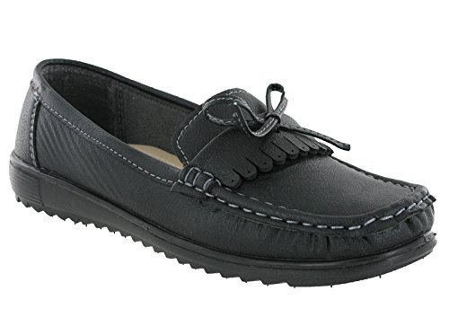 Amblers Moccasin Slip On Loafer Deck Flat Summer Holiday Casual Womens Shoes Elba- Black