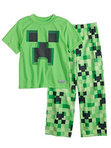 Minecraft Creeper Boys Short Sleeve Pajamas Set (12, Green)
